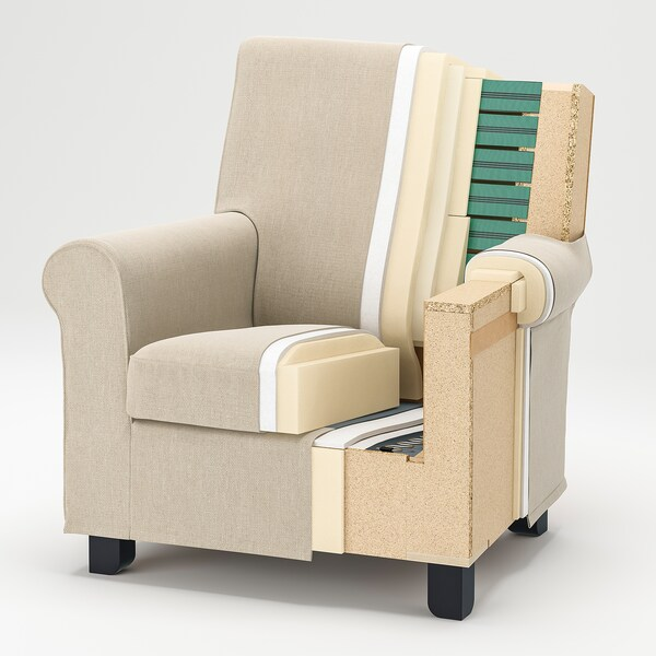 GRÖNLID Armchair, Ljungen medium grey