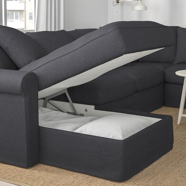 GRÖNLID Corner sofa, 5-seat, with chaise longue/Sporda dark grey