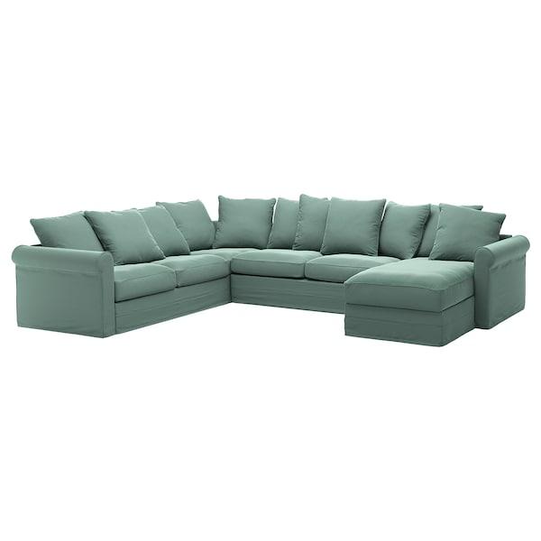 GRÖNLID corner sofa-bed, 5-seat with chaise longue/Ljungen light green 53 cm 104 cm 164 cm 98 cm 126 cm 252 cm 352 cm 60 cm 49 cm 140 cm 200 cm 12 cm