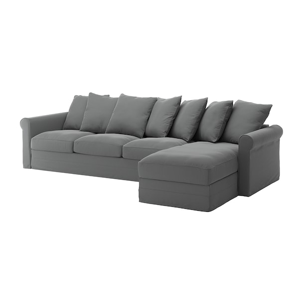 GRÖNLID Cover for 4-seat sofa, with chaise longue/Ljungen medium grey