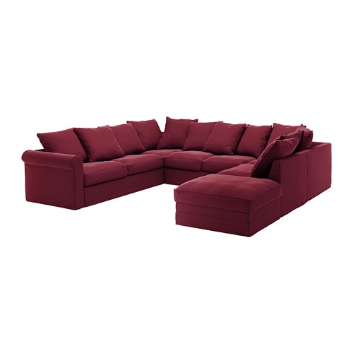Gronlid U Shaped Sofa 6 Seat With Open End Ljungen Dark Red Ikea