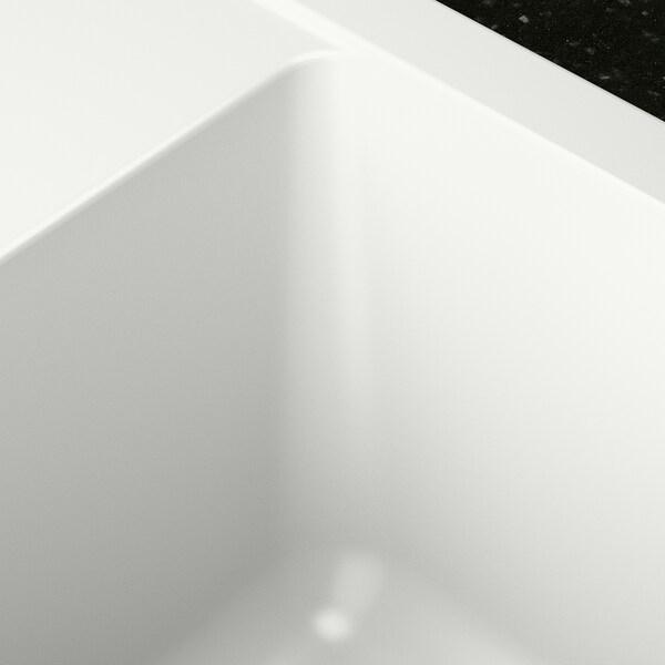 HÄLLVIKEN Single-bowl inset sink, white quartz composite, 56x50 cm