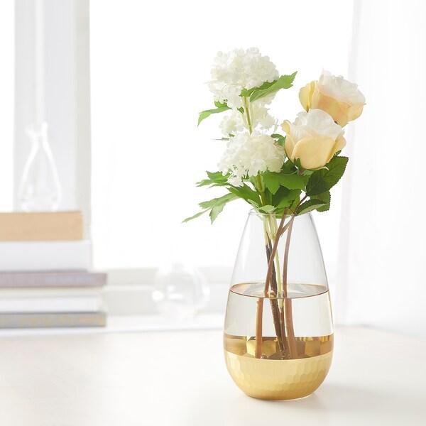 HÅGKOMST Vase, glass/gold-colour, 21 cm