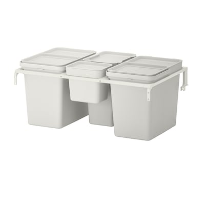 HÅLLBAR Waste sorting solution, for METOD kitchen drawer/light grey, 55 l