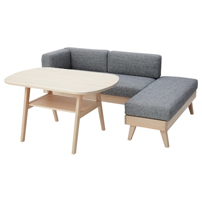 HALVDAN Dining suite with sofa/bench, grey/black/birch