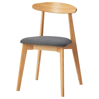 HANSOLA Chair, bamboo/Hillared anthracite