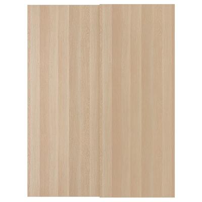 HASVIK Pair of sliding doors, white stained oak effect, 150x201 cm