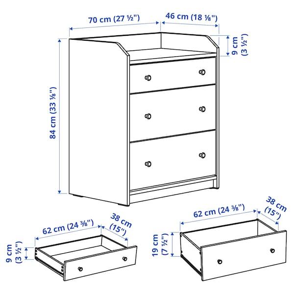 HAUGA Chest of 3 drawers, white, 70x84 cm