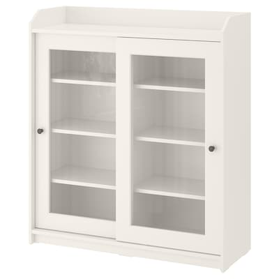 HAUGA Glass-door cabinet, white, 105x116 cm
