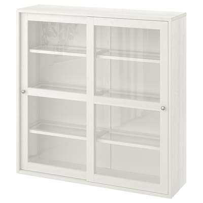 HAVSTA Glass-door cabinet, white, 121x35x123 cm