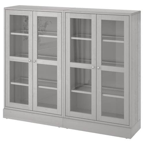 HAVSTA storage combination w glass doors grey 162 cm 37 cm 134 cm 23 kg