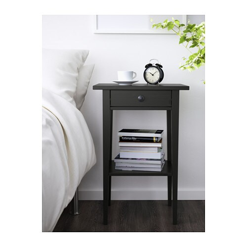 HEMNES Bedside table IKEA Smooth running drawer with pull-out stop.  Made of solid wood, which is a hardwearing and warm natural material.