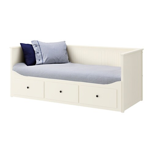 HEMNES Day bed frame with 3 drawers white Moshult firm
