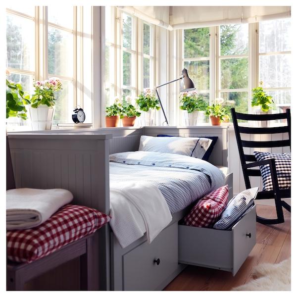 HEMNES Day-bed w 3 drawers/2 mattresses, grey/Vannareid extra firm, 80x200 cm