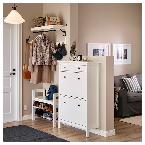 HEMNES Shoe cabinet with 2 compartments, white, 89x127 cm