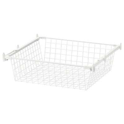 HJÄLPA Wire basket with pull-out rail, white, 60x55 cm