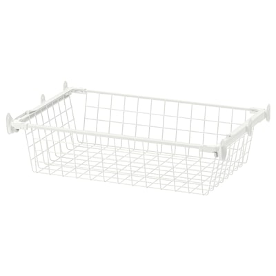 HJÄLPA Wire basket with pull-out rail, white, 60x40 cm