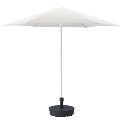 HÖGÖN Parasol with base, white/Grytö dark grey, 270 cm