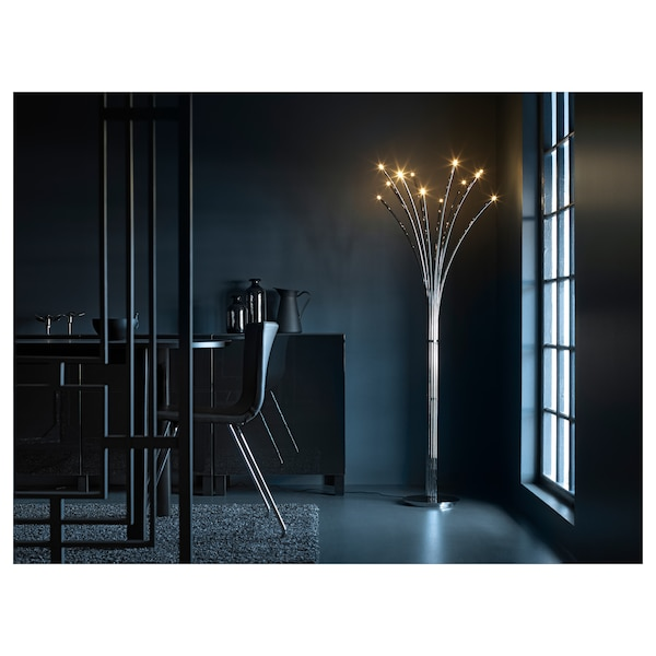 HOVNÄS Floor lamp, chrome-plated