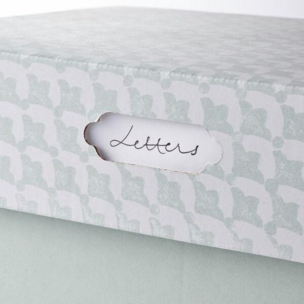 HYVENS Storage box with lid, grey-green white/paper, 33x23x15 cm
