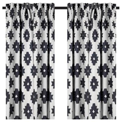 IDALENA Room darkening curtains, 1 pair, black, 145x200 cm