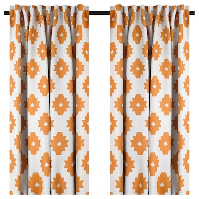 IDALENA Room darkening curtains, 1 pair, yellow, 145x135 cm