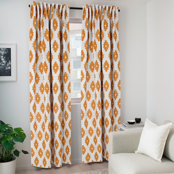 IDALENA Room darkening curtains, 1 pair, yellow, 145x135 cm