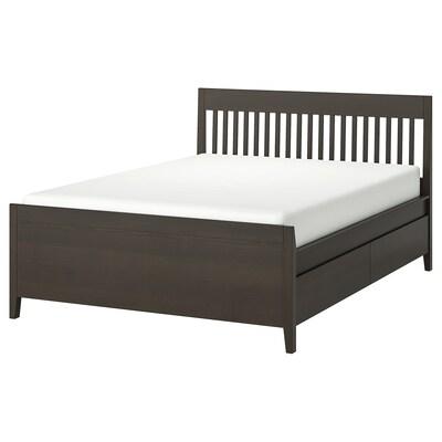 IDANÄS Bed frame with storage, dark brown/Lönset, 140x200 cm