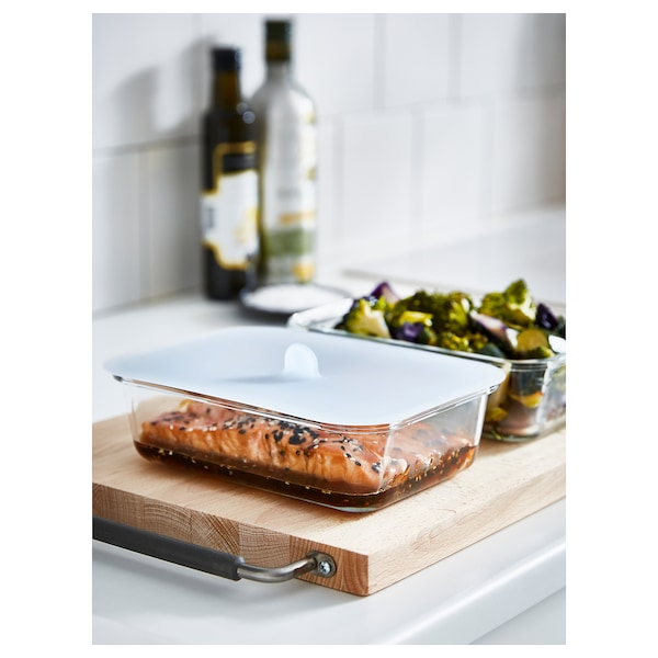IKEA 365+ Food container with lid, rectangular glass/silicone, 1.0 l