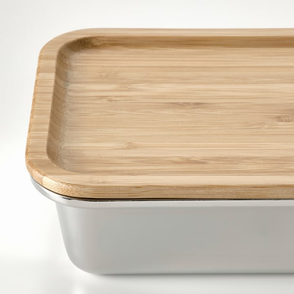 IKEA 365+ Food container with lid, rectangular stainless steel/bamboo, 1.0 l