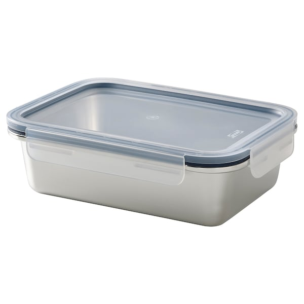IKEA 365+ Food container with lid, rectangular stainless steel/plastic, 1.0 l