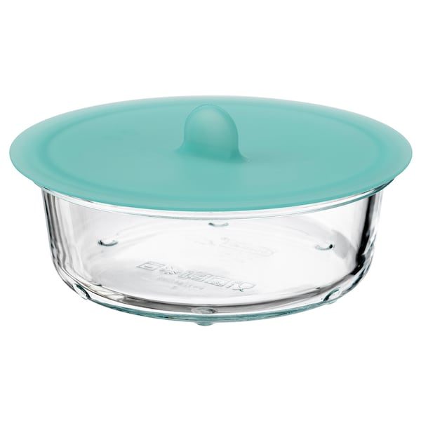 IKEA 365+ Food container with lid, round glass/silicone, 400 ml