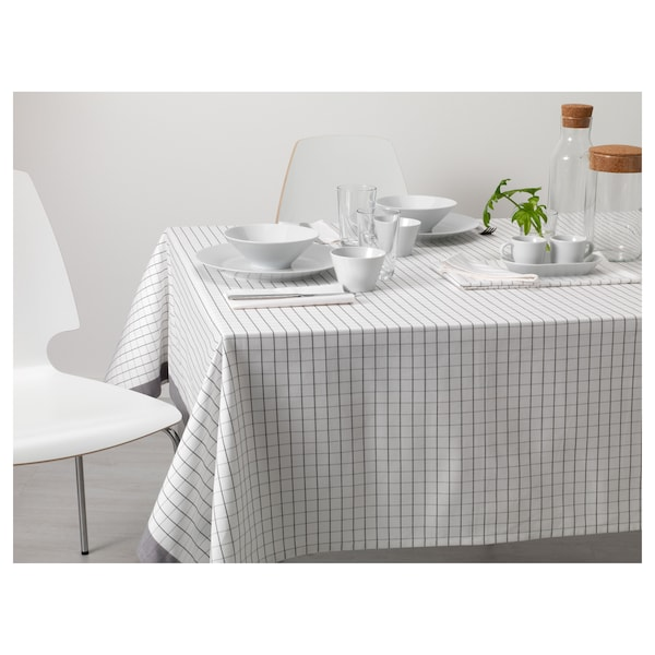 IKEA 365+ Tablecloth, white/grey, 145x240 cm