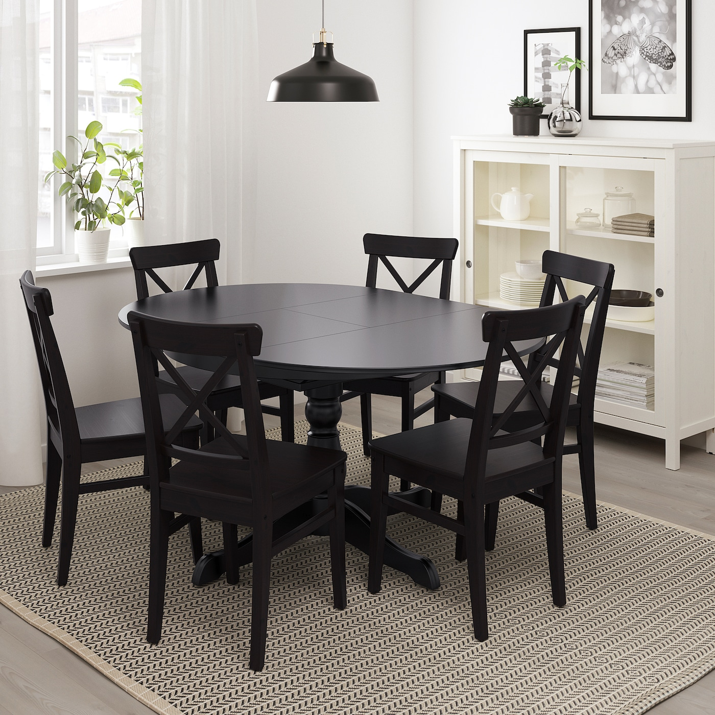 Picture of: Ingatorp Extendable Table Black Ikea