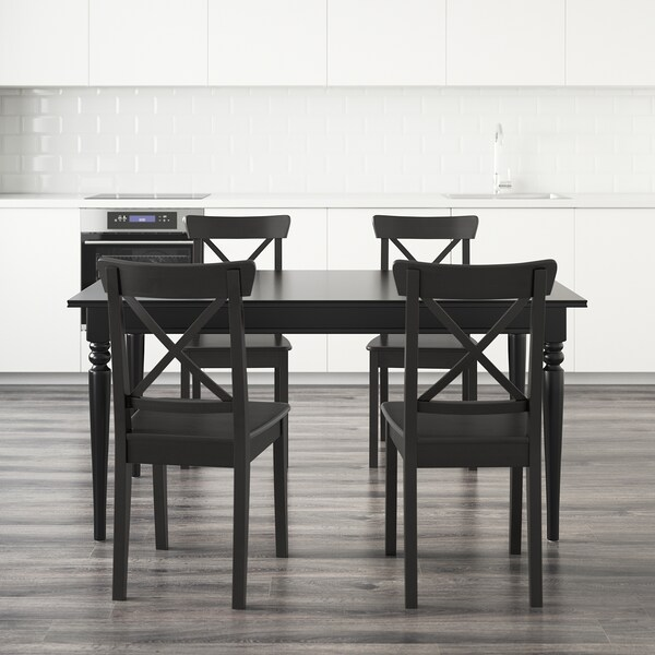 INGATORP / INGOLF Table and 4 chairs, black/brown-black, 155 cm