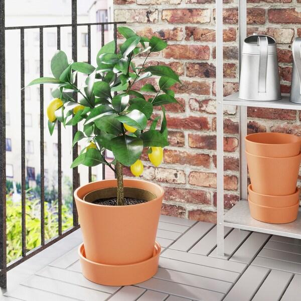 INGEFÄRA plant pot with saucer outdoor terracotta 26 cm 30 cm 24 cm 28 cm