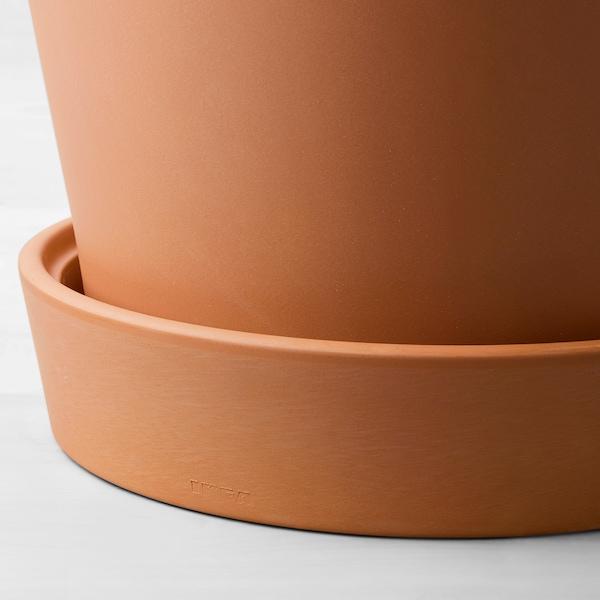 INGEFÄRA Plant pot with saucer, outdoor terracotta, 32 cm