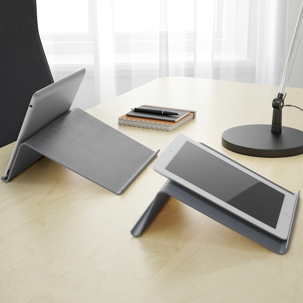 ISBERGET Tablet stand, grey, 25x25 cm
