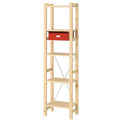 IVAR 1 section/shelves/drawers, pine/red, 48x30x179 cm