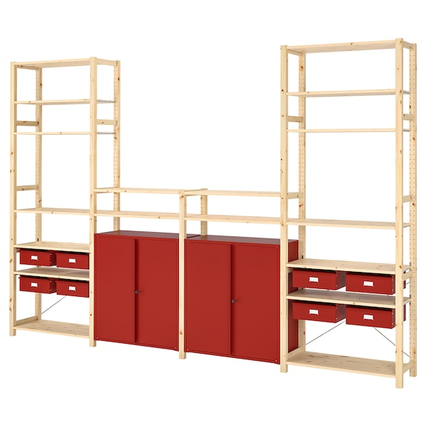 IVAR Shelving unit w cabinets/drawers, pine/red, 344x30x226 cm