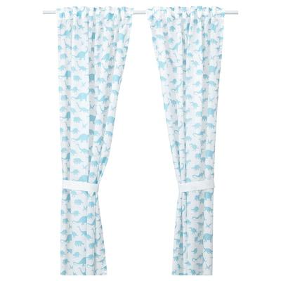 JÄTTELIK Curtains with tie-backs, 1 pair, dinosaur white/blue, 120x250 cm