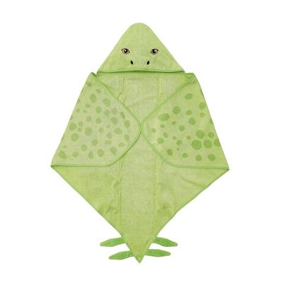JÄTTELIK Towel with hood, dinosaur/stegosaurus/green, 140x97 cm
