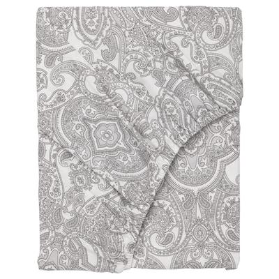 JÄTTEVALLMO Fitted sheet, white/grey, 140x200 cm
