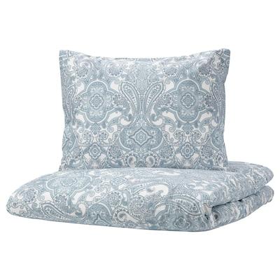 JÄTTEVALLMO Quilt cover and pillowcase, white/blue, 150x200/50x60 cm