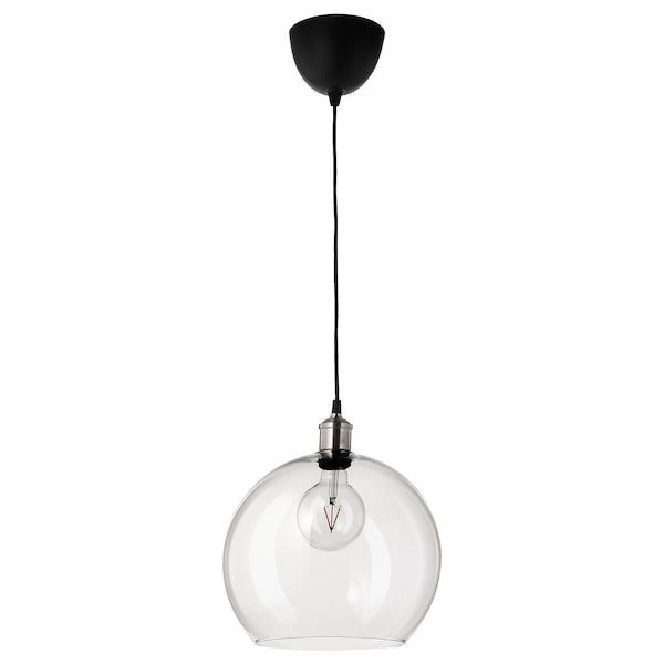 JAKOBSBYN Pendant lamp shade, clear glass, 30 cm