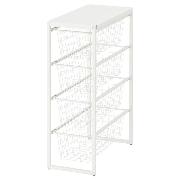 JONAXEL Frame/wire baskets/top shelf, white, 25x51x70 cm