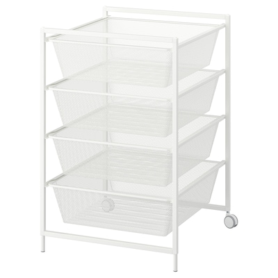JONAXEL Frame with mesh baskets/castors, white, 50x51x73 cm