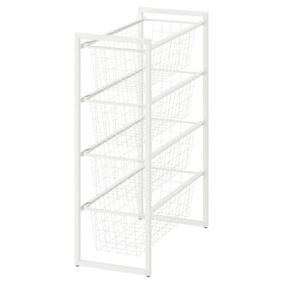 JONAXEL Frame with wire baskets, white, 25x51x70 cm