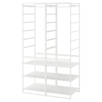 JONAXEL Shelving unit with clothes rail, white, 99x51x173 cm