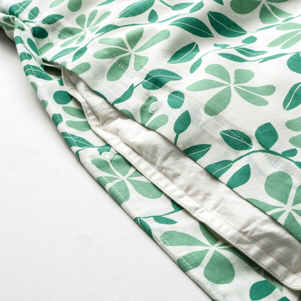 JUVELBLOMMA Quilt cover and 2 pillowcases, white/green, 200x200/50x60 cm